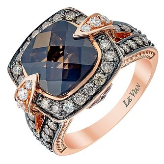 Le Vian 14ct Strawberry Gold Chocolate Quartz & diamond ring - Product number 3813916