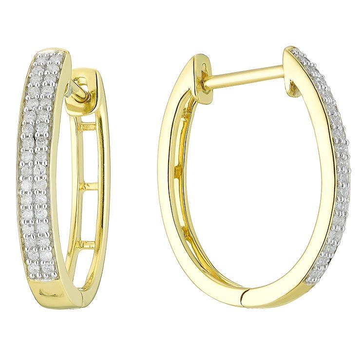 9ct Gold 1 5 Carat Diamond Hoop Earrings