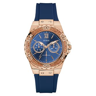 Guess Ladies' Blue Silicone Strap Watch - Product number 3818187
