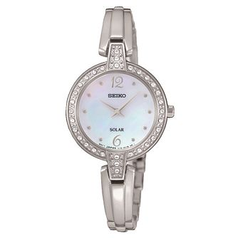 Seiko Solar ladies' mother of pearl stone set bracelet watch - Product number 3819949