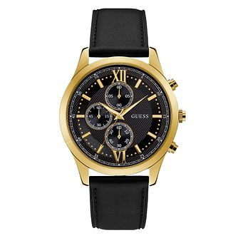 Guess Hudson Men's Black Leather Strap Watch - Product number 3821080