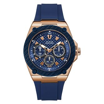Guess Men's Blue Silicone Strap Watch - Product number 3821099