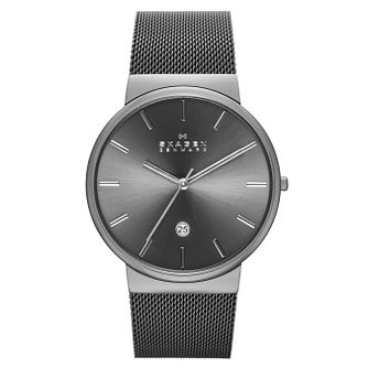 Skagen Men's Grey Stainless Steel Mesh Bracelet Watch - Product number 3824527