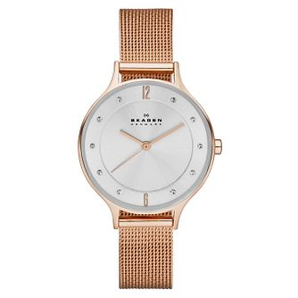 Skagen Ladies' White Dial Rose Gold-Plated Bracelet Watch - Product number 3824667