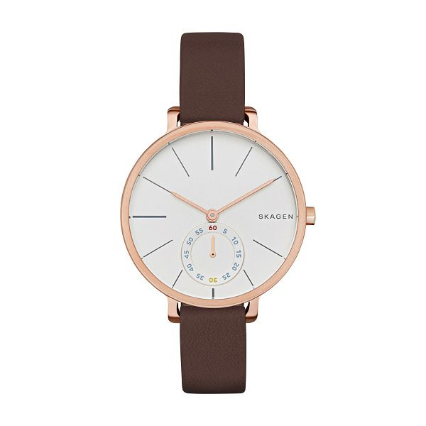 Skagen Ladies' White Dial Brown Leather Strap Watch - Product number 3824845