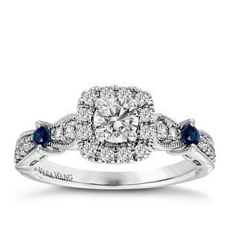 Vera Wang 18ct White Gold 0.70ct Diamond Sapphire Halo Ring - Product number 3825477