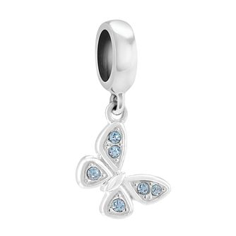 Chamilia Silver Aqua Swarovski Petite Butterfly Charm Bead - Product number 3830055