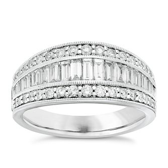 Neil Lane 14ct White Gold 1.05ct Diamond 3 Row Ring - Product number 3832686