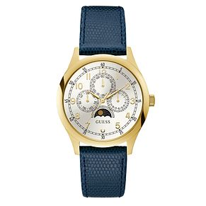 Guess Kensington Men's Blue Leather Strap Watch - Product number 3835677