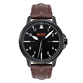 Boss Orange Chicago Men's Brown Leather Strap Watch - Product number 3835715