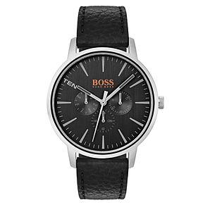 Boss Orange Copenhagen Men's Black Leather Strap Watch - Product number 3836010