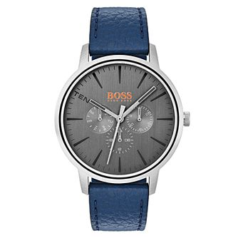 Boss Orange Copenhagen Men's Blue Leather Strap Watch - Product number 3836029