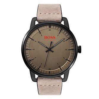 Boss Orange Stockholm Men's Beige Leather Strap Watch - Product number 3836193