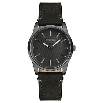 Barbour Jarrow Men's Gunmetal Ion Plated Leather Strap Watch - Product number 3840247