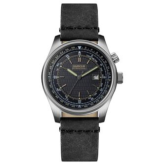 Barbour Boldon Men's Gunmetal Ion Plated Leather Strap Watch - Product number 3840255