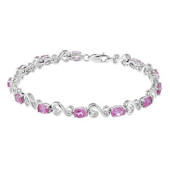 Open Hearts Created Pink Sapphire & Diamond Bracelet - Product number 3853853