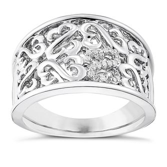 Open Hearts By Jane Seymour Silver & Diamond Eternity Ring - Product number 3854272