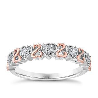 Open Hearts By Jane Seymour Silver & 9ct Rose Gold Ring - Product number 3855120