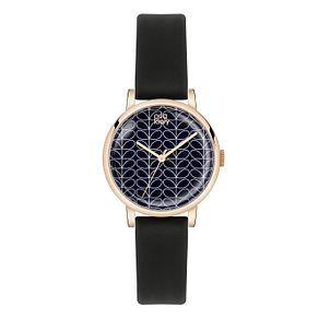 Orla Kiely Ladies' Black Dial Black Leather Strap Watch - Product number 3860744
