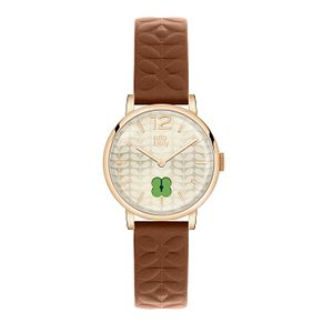 Orla Kiely Ladies' Gold Dial Brown Leather Strap Watch - Product number 3860795
