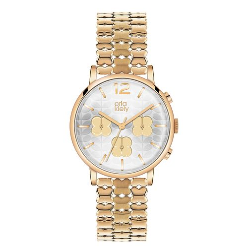 Orla Kiely Ladies' Silver Dial Gold-Plated Bracelet Watch - Product number 3860922