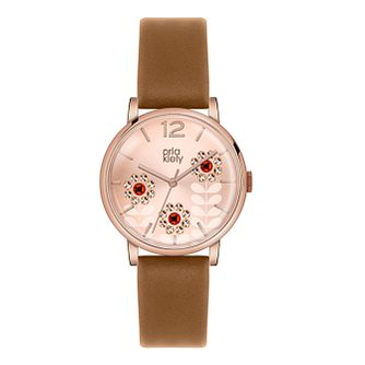 Orla Kiely Ladies' Rose Dial Tan Leather Strap Watch - Product number 3861015