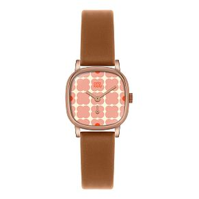 Orla Kiely Ladies' Square Dial Tan Leather Strap Watch - Product number 3861317