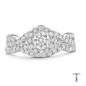 Tolkowsky 18ct white gold 1ct diamond halo bridal set - Product number 3864057