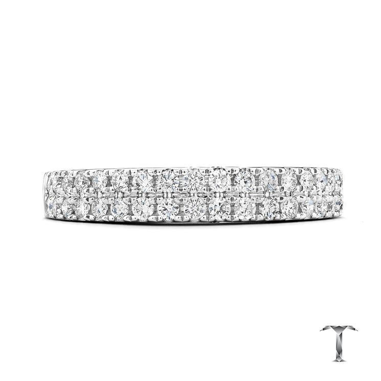 Tolkowsky 18ct white gold 0.50ct diamond two row band - Product number 3865193