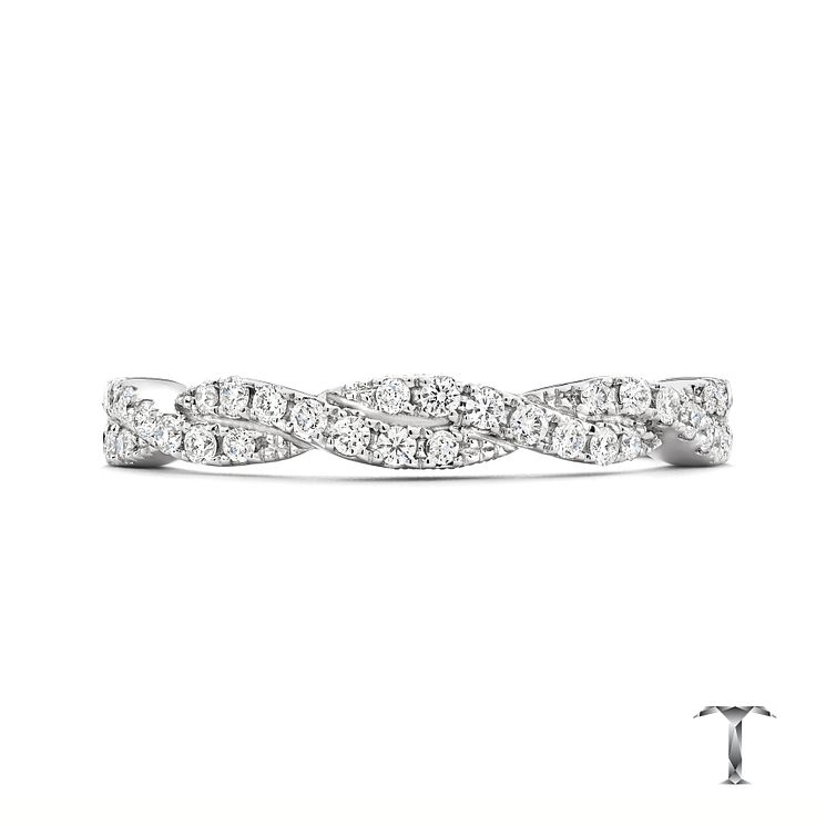 Tolkowsky 18ct White Gold 0.25ct Twisted Band - Product number 3867196