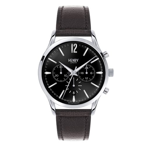 Henry London Men's Highgate Silver Dial Leather Strap Watch - Product number 3870146
