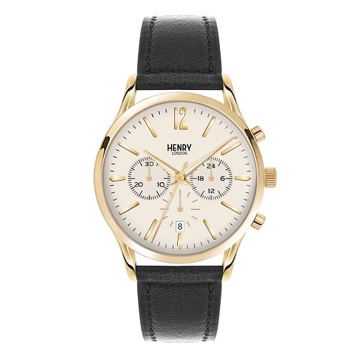 Henry London Men's Westminster Gold Dial Leather Strap Watch - Product number 3870839