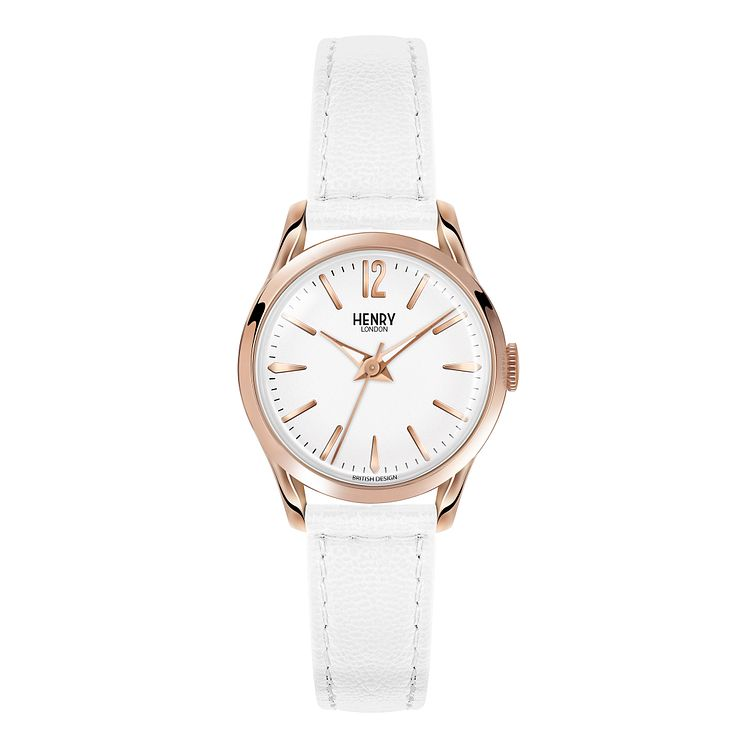 Henry London Ladies' White Dial White Leather Strap Watch - Product number 3871029