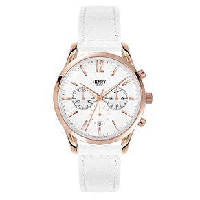 Henry London Ladies' Silver Dial White Leather Strap Watch - Product number 3871290