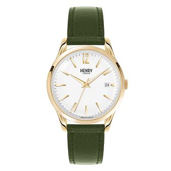 Henry London Ladies' Chiswick Green Leather Strap Watch - Product number 3871851