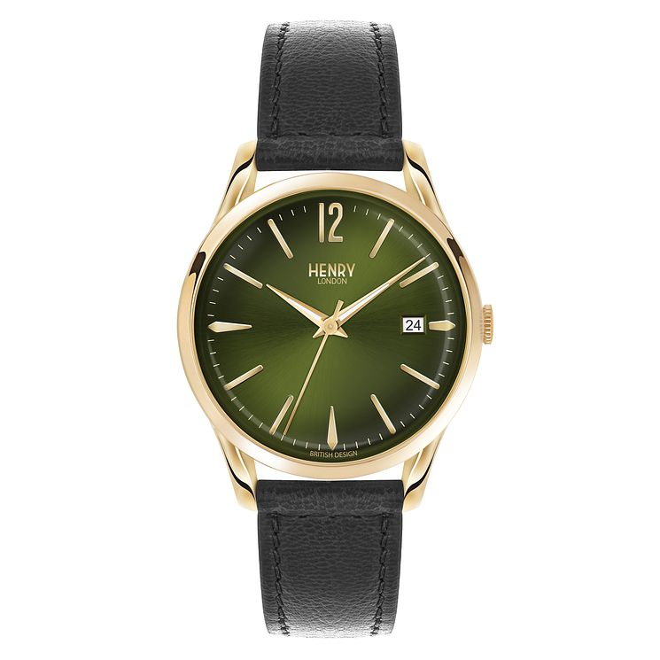 Henry London Men's Chiswick Green Dial Leather Strap Watch - Product number 3871878