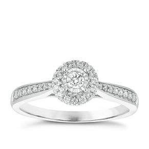 9ct White Gold 1/4ct Diamond Solitaire Halo Ring - Product number 3876896