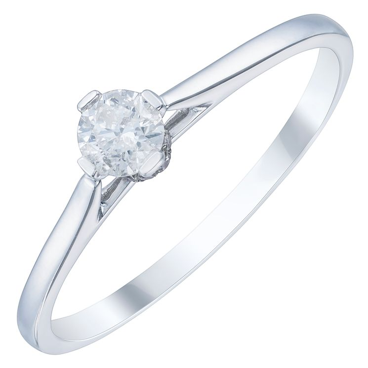 9ct White Gold 1/5ct Diamond Solitaire Ring - Product number 3877388