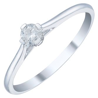 9ct White Gold 0.15ct Diamond Solitaire Ring - Product number 3877515