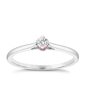 9ct White Gold 1/10ct Diamond Solitaire Ring - Product number 3878368