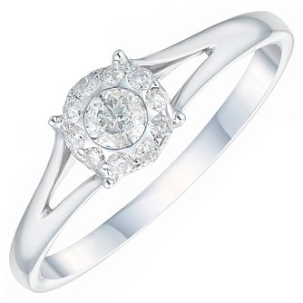 9ct White Gold 1/5ct Diamond Solitaire Halo Ring - Product number 3881024