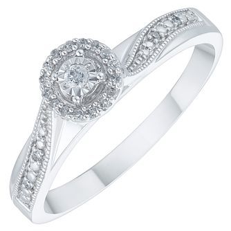 9ct White Gold Diamond Solitaire Ring - Product number 3881806