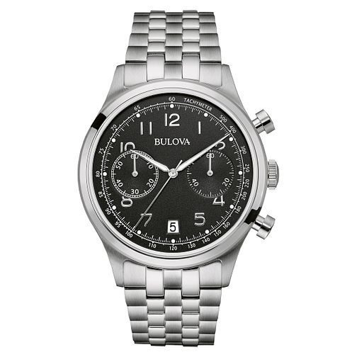 Bulova Men's Black Dial Stainless Steel Bracelet Watch - Product number 3883752