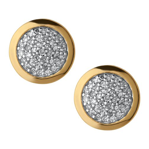 Links of London 18ct Gold Vermeil Diamond Round Earrings - Product number 3885895