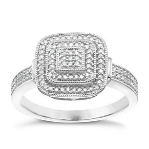 9ct White Gold 1/5ct Diamond Cluster Halo Ring - Product number 3889424