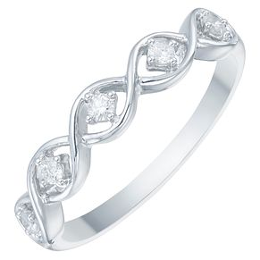 9ct White Gold 1/10ct Diamond Twist Eternity Ring - Product number 3890465