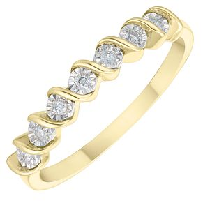 9ct Yellow Gold Diamond Twist Eternity Ring - Product number 3891631