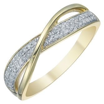 9ct Yellow Gold 1/10ct Diamond Twist Eternity Ring - Product number 3894541