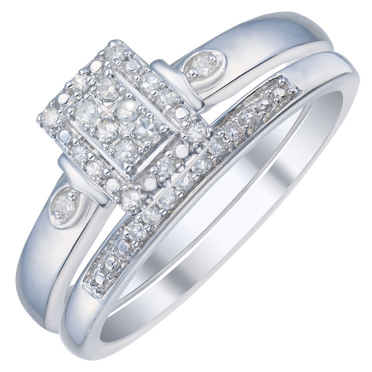 9ct White Gold 0.12ct Diamond Perfect Fit Bridal Set - Product number 3895157