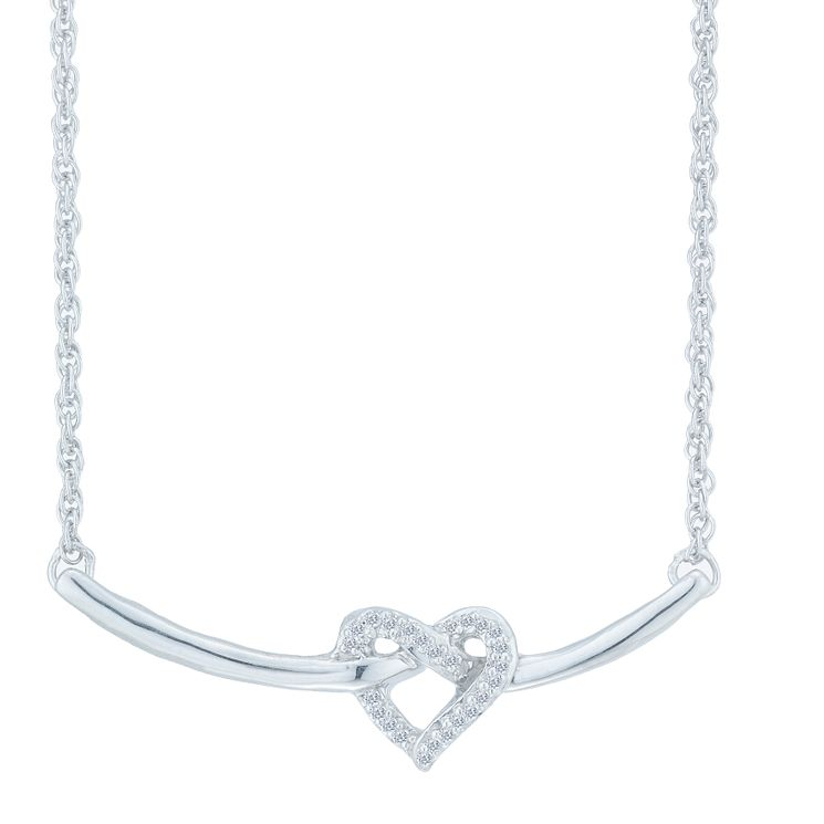 Sterling Silver Diamond Crossed Heart Necklet - Product number 3896870